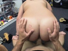 Sexy coed flashes her boobs and banged at the pawnshop