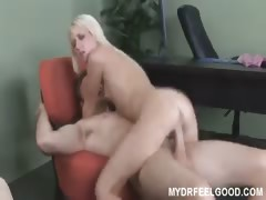 Horny blonde Alexia fucks doctor