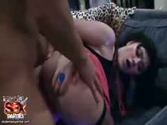 Teens strip tease and party blowjob