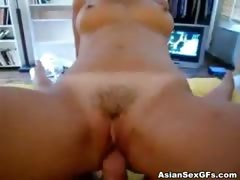 Asian girl takes hard cock and rides