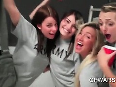 Babes in college having a few shots and fucking in group