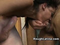 Latina Gets Her Own Spit Pounded Back Down Her Throat