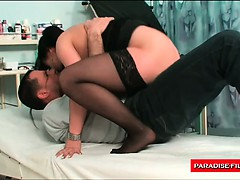Horny doctor penetrating his patients pussy