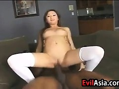 Tattooed Asian Slut Loves Black Cock