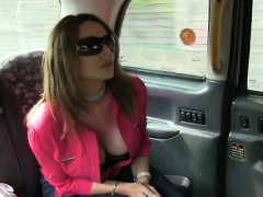 Chubby busty amateur anal banged in fake taxi in public